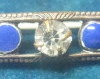 Almost Antique Bar Pin, Rhinestones and Blue Enamel