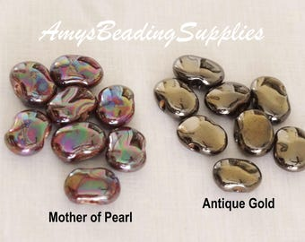 Kazuri MINI Shale Mother of Pearl/Henna OR Mini Shale Antique Gold Handmade Ceramic Beads (Select color option)
