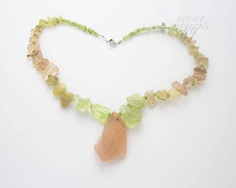 Natural Raw Necklace of Apatite, Peridot and  Sunstone with Morganite Focal Bead