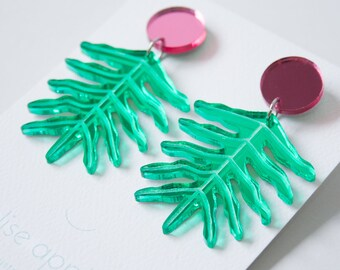Philodendron leaf dangle / drop earrings   Green and pink mirror   Laser etched and cut acrylic   Handmade