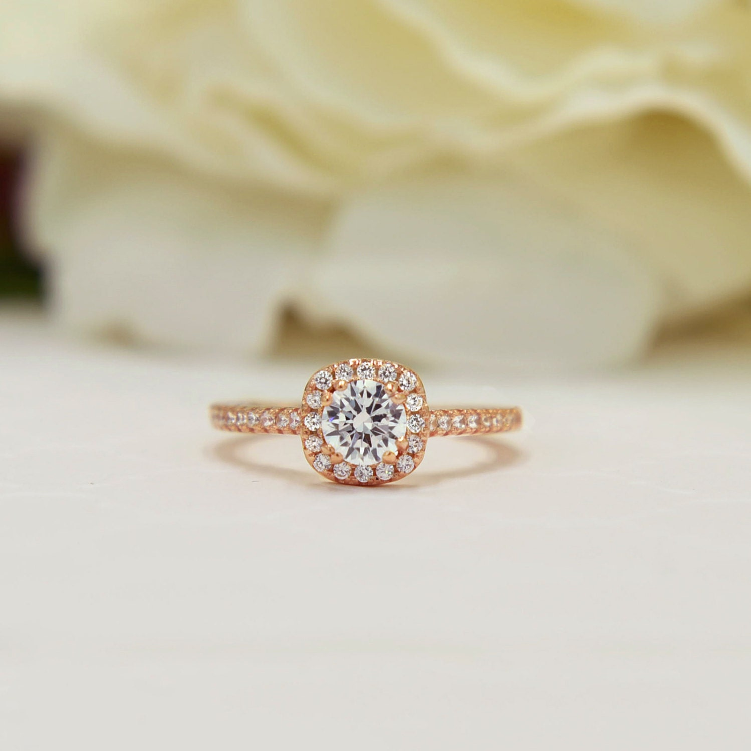 piece princess wedding alternative rose fullxfull il jcua square clear rings listing colorless engagement set gold ring bridal halo
