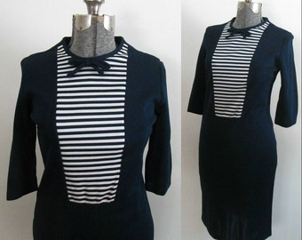 Mid Century Pencil Sailor Dress 1950s 1960s Navy White Striped