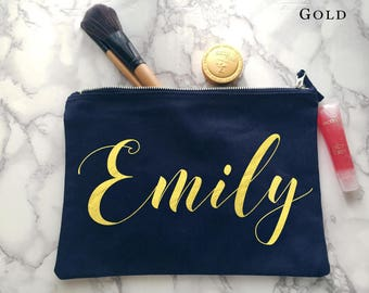 Metallic Personalised make up bag | Personalised gift | Bridesmaid gift  | Personalised Birthday Present | Wash bag | navy pouch