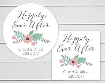Happily Ever After Stickers, Wedding Thank you Stickers, Happily Ever After Wedding Stickers, Envelope Seals  (#251)