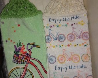 SET: Enjoy the Ride (on a bicycle) Hanging Kitchen Towel