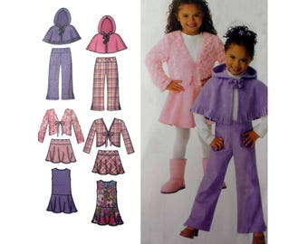 Girl's Dress, Jumper, Skirt, Pants, Jacket, Poncho Cape Sewing Pattern Size 3-4-5-6-7-8 Uncut Easy Simplicity 4384