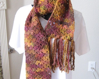 Ladies Long Scarf 68 Inch with Fringe Autumn Colors Stretchy Neck warmer Multi color Night and Day Crochet Etsyturns13