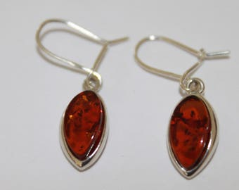 Amber Oval Earrings set in Silver, Gift Boxed