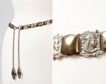 Vintage 1920s Egyptian Revival Metal Brass Belt with Pharaoh Portrait