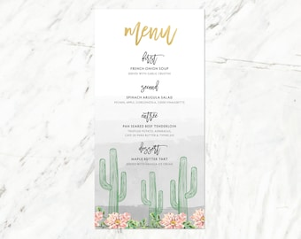 Desert Wedding Menu, Cactus Wedding Menu, Arizona Gold Wedding Menu, Palm Springs Wedding