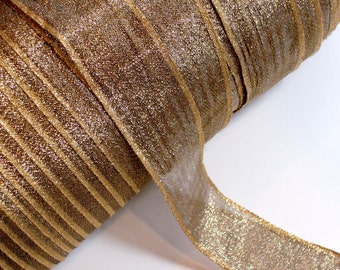 Gold Ribbon, Metallic Gold Sheer Wired Ribbon 1 1/2 inches wide x 5 yards, SECOND QUALITY FLAWED, Gold Wired Ribbon