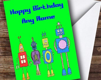 Green Robot Personalised Birthday Card
