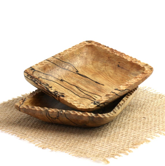Set of 2 Wooden Spalted Maple Square Bowls/ Candy Dish/ Nut Bowl/ Wood Serving Set/Catch All Tray/Jewelry Bowl