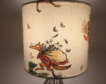 Handmade 'Fantastic Mr Fox fabric'  Drum Lampshade.