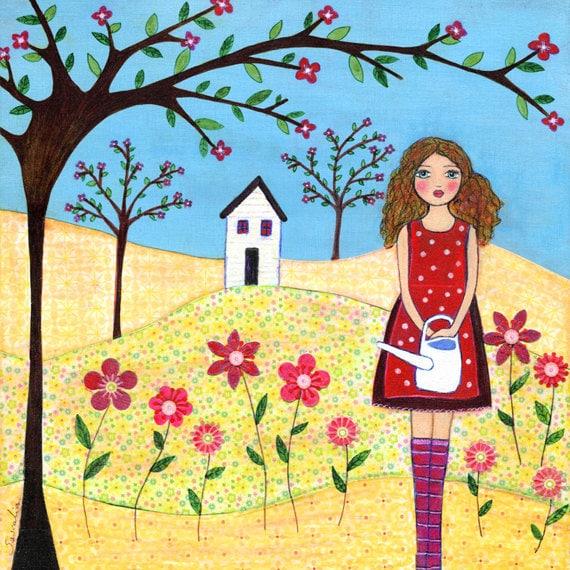Folk Art Mixed Media Girl Painting Nursery Art Print