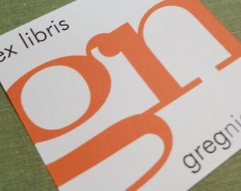Personalized Bookplate Modern Ex Libris Monogram, Set of 24