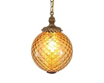 Hollywood Regency Gold Italian Glass Swag Lamp Mid-Century Glamour
