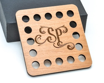 Personalized Monogram Embroidery Thread Holder Laser Cut Engraved from Alder Wood Cross Stitch Needlework Gift Crafter Custom