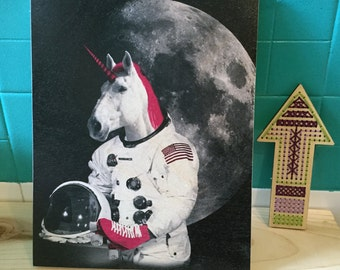 Wood Print: Astronaut Unicorn, Print on Wood, Wall Art Prints, Wood Artwork, Unicorn Art, Unicorn Print, Unicorn Artwork