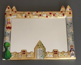 Mirror, frame child: castle, princess, dragon and knight. Gift idea for Children