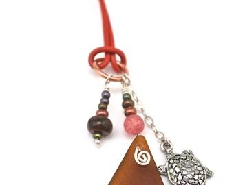 PEI Adjustable Brown Sea Glass Necklace