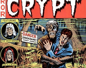 Danger Quicksand  Tales from the Crypt pulp horror comic cover 1951