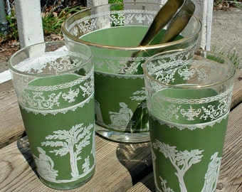 Jeannette Hellenic Glassware, Vintage Hellenic Barware, Green Hellenic Ice Bucket and Tumbler Set, 1960 Barware Set, Green Jeannette Set