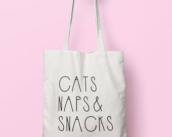 Cats Naps & Snacks Tote Bag Long Handles TB1640