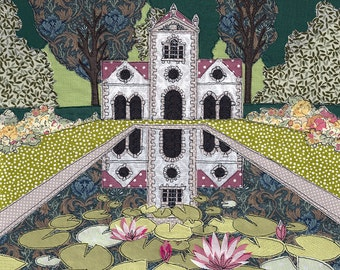 Print of original textile artwork 'Pin Mill'. Applique and Machine freehand embroidery. Bodnant Garden, a National Trust property.