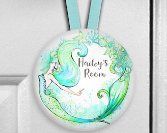 Mermaid door hanger - girl's bedroom decor - mermaid decor for girls room - birthday gift for daughter - HAN-PERS-31