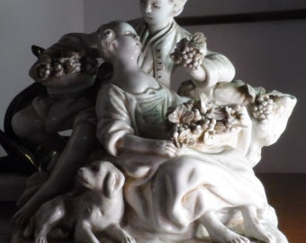 Sculpture signed loving couple butcher