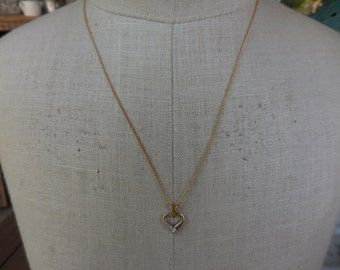 Vintage 1960s to 1980s Gold Tone 1/20 14ktgf Heart Necklace With 1/2012ktgf Chain Dainty Diamonds Feminine Small