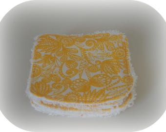 Washable printed yellow floral fabric and Terry cloth.