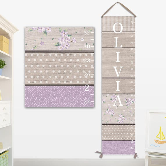 Purple Growth Chart - Canvas Growth Chart, Lavender Personalized Growth Chart - GC0115L