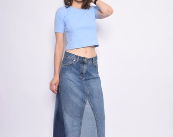 Vintage 90's Blue Denim Maxi Skirt / Patchwork Denim Long Skirt / High Waist Jean Skirt - Size Medium