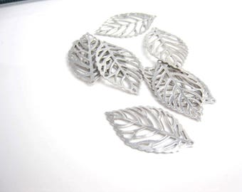 Leaf connector, Rhodium plated, Silver Leaf pendant connector, Leaf charm, C-016
