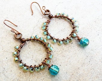 Seafoam Green Turquoise Beaded Antiqued Copper Loop Earrings Wire-wrapped Dangle Earrings By Distinctly Daisy