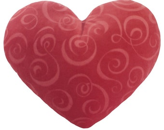 Pink Swirl Heart Shaped Decorative Valentine's Day Pillow - Small Size