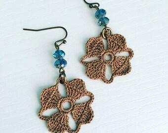 Nora Crochet Earrings in Mocha, Lace Doily Earrings, Lightweight Dangle Earring, Crochet Flower, Coffee Brown, Bridesmaid Gift, Gift for Her