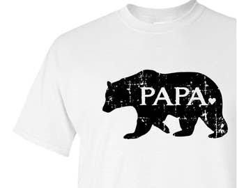 PAPA bear graphic tee, dad to be gift, Christmas gift for men, screen print t-shirt, grandfather gift, new dad gift, family pride