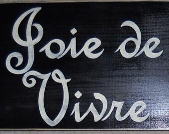 Joie de Vivre XL French Country Decor Sign Plaque Joy Of Life Paris Apt Chic