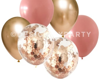 Rosewood & Gold Chrome with 2 Rose Gold Copper Confetti Balloons (12 Pack) DMP026
