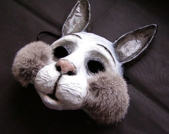 Animal Mask Rabbit Mask Hare Mask Bunny mask Halloween Mask Masquerade Mask Paper Mache Mask Face Mask
