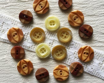 lot 14 vintage buttons Brown, beige, ivory - 12 mm - 13 mm-14 mm - set Brown vintage buttons, 50s-60s