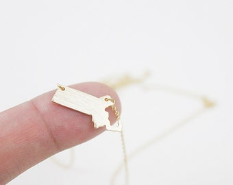 Gold Massachusetts Pendant Necklace Simple and Modern Everyday Necklace Dainty Necklace Gift for Friends