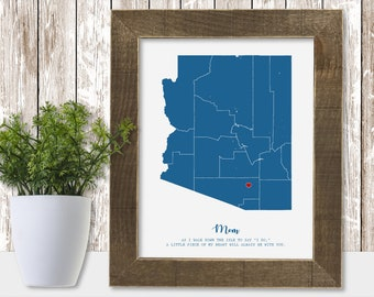 Mother of the Bride Gift Personalized Wedding for Couple to Father of the Groom Customized from In Law Unique Art Print Map State Poster