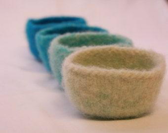 Blue Ombre Felted Trinket Bowls