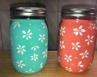 Hand Painted Summer Daisy Mason Jars Set of Two (2) Center Piece Vases