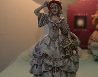 vintage Ceramic peasant girl figurine ~ ceramic peasant figurine ~ shabby chic style ceramic lady figurine ~ victorian style figurine