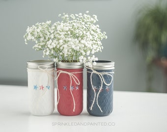 July 4th Mason Jar Vases, 4th of July Decor, July 4th Party Centerpiece, Red White and Blue, Patriotic Centerpiece, American Decor